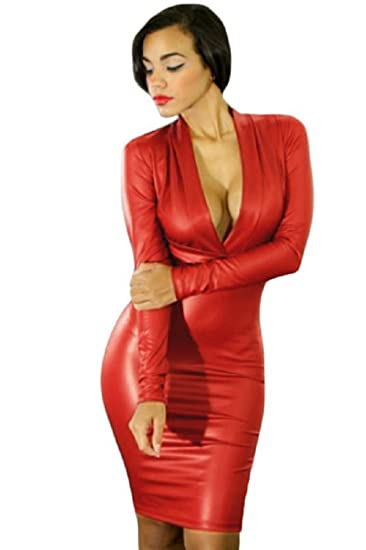 Neue Damen Rot Kunstleder Midi Dress Club Sommer Kleid Casual Party ...