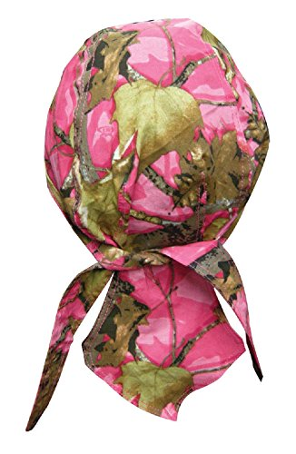 ZIZI SPORTS SUPPLY Pink Hunting Camp Leaf Tree Camo Doo Rag Headwrap Skull Cap Sweatband