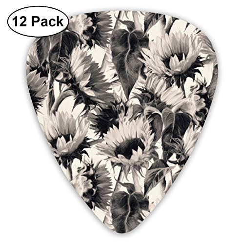 (Soft Sepia Sunflowers Bendy Ultra Thin 0.46 Med 0.73 Thick 0.96mm 4 Pieces Each Base Prime Plastic Jazz Mandolin Bass Ukelele Guitar Pick Plectrum Display)