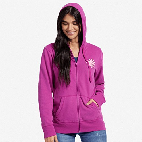 Life Is Good Womens Go-To Zip Hoodie Print Pattern Sun, Sassy Magenta, X-Large