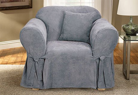 Soft Suede One Piece Chair Slipcover smoke blue