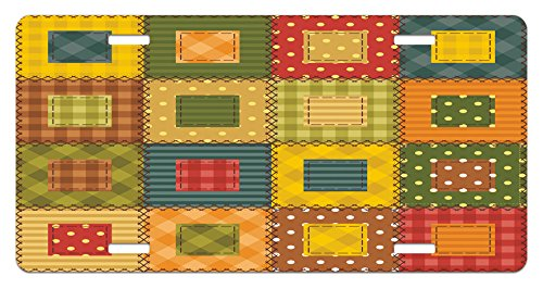 (Lunarable Cabin License Plate, Geometrical Traditional Quilting Checkered Plaid Polka Dots Stripes Squares Print, High Gloss Aluminum Novelty Plate, 5.88 L X 11.88 W Inches, Multicolor )