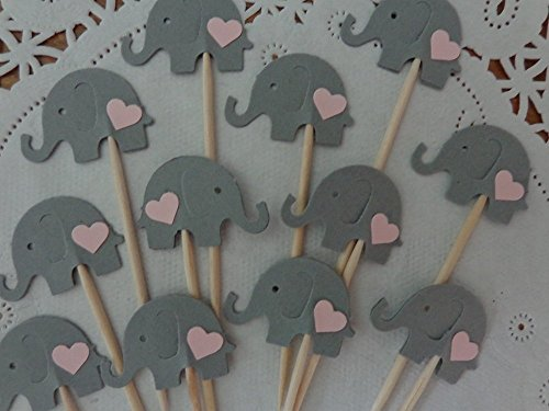 Grey Elephant with Light Pink Hearts Cupcake Toppers - NEW Larger Size 1.5
