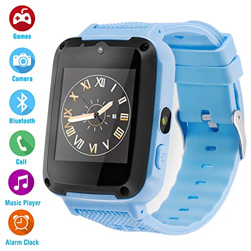 Kids Phone Smartwatch Games 1.54 inch Touch Screen Music Player Two-Way Call HD Camera Bluetooth (Blue)