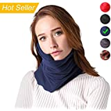 Snapmade Travel Neck Pillow Scientifically Adjustable Neck Support Super Soft & Easy to Carry Neck Pillow for Airplane Travel Unisex and Kids Travel Neck Pillow – Machine Washable - Navy Blue