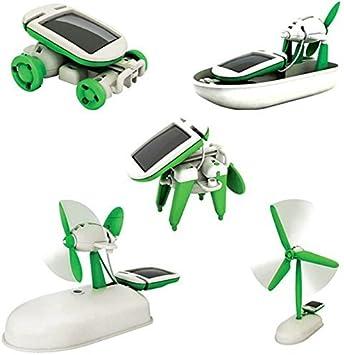 Krireen Educational 6 in 1 Solar Power Energy Robot Toy Kit, Learning Game and Demonstration Kit for Kids (White/Green)