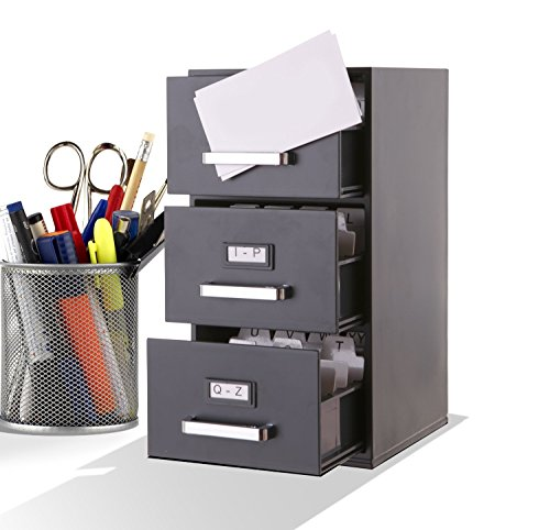 Index Card File (Mini File Cabinet Business Card Holder 3-Drawer)