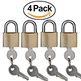 """SEPOX Solid Brass Key Different Padlock with 30mm Wide Body, ¼"""" Shackle Diameter pack of 4"""