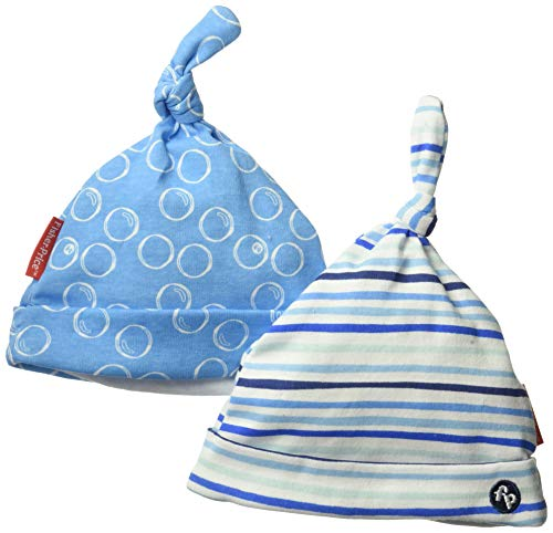Fisher-Price Baby 2 Pack Adujustable Knotted Hat, Nautical Blue with White, ONE Size