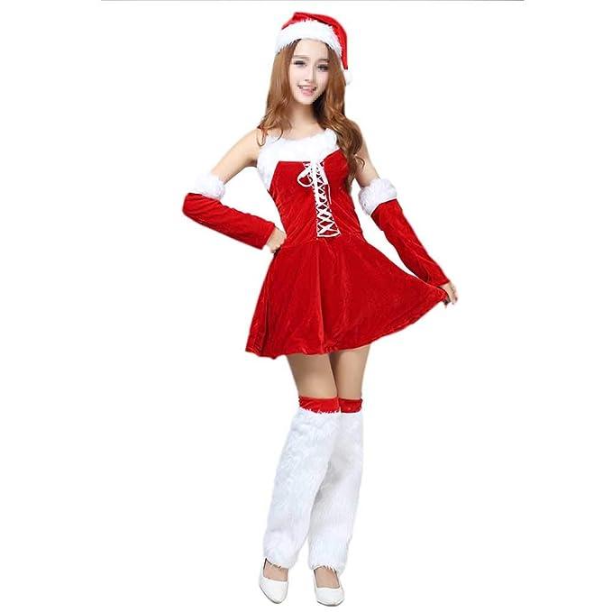 BESTOYARD Conjunto de Disfraz de Papa Noel para Mujer Rojo y ...