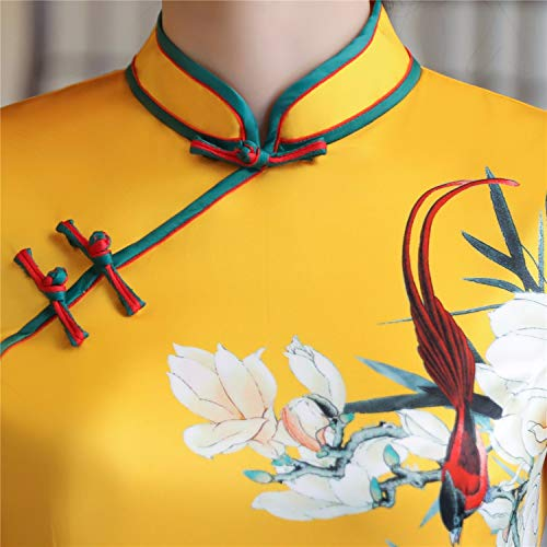 pour Manches Femme Chinoise Mince Faux Cheongsam Robe Yellow Soie Traditionnelle Courtes Tendance Robes Robe Qipao Femme Robes National Longue Awqava