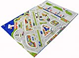 IVI Mini City Exclusive Thick 3D Kids Car Rug in a Colourful Town Design with 3 Dimensional Aiport, Car Parks and Roads, Multicolor