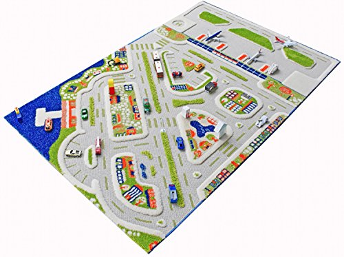 IVI Mini City Exclusive Thick 3D Kids Car Rug in a Colourful Town Design with 3 Dimensional Aiport, Car Parks and Roads, Multicolor by IVI