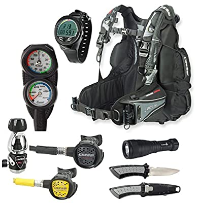 Cressi Air Travel BC Scuba Gear Package, Dive Computer, Scuba Regulator with Octo, Knife and LED Light