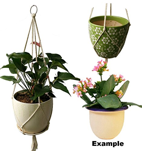 Handmade 4 Legs beige white 4mm cotton Rope 36 Inches Macrame Plant Holders fits 8 inch pots