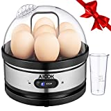 Aicok Egg Cooker, Egg Boiler, Electric Egg Maker with Steamer & Poacher Attachment, Egg Steamer Stainless Steel 7 Egg Capacity With Removable Tray & Auto Shut Off Feature