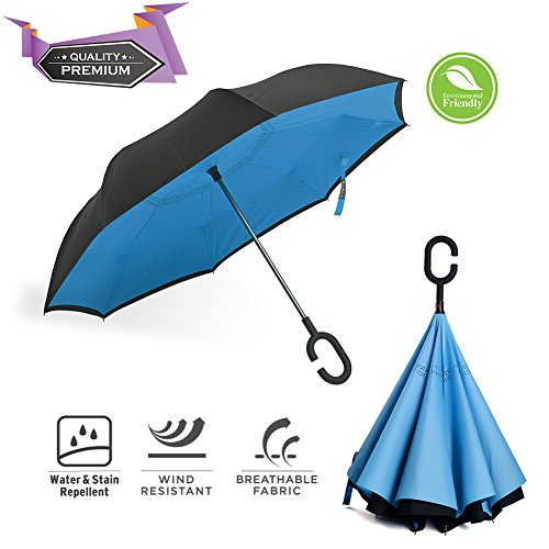 BravRain Inverted Umbrella Windproof Upside Down Reverse Travel Umbrella for Women Double Layer Inside Out Reversible Folding Large Car Umbrella for Men - Foldable UV Sun Rain Golf Umbr (Royal Blue)