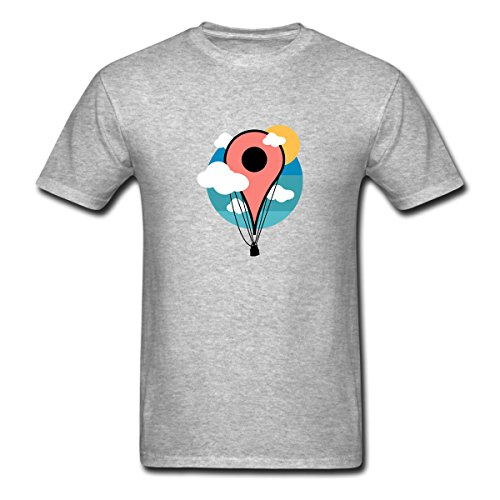 Pookeng Nerdy Scenic Map Pin Hot Air Balloon Graphic Art Men's Funny Short Sleeve T-Shirts Tees Size XL -
