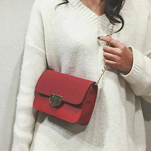 Messenger à Petite réglable d'épaule Satisfr Messenger Rouge Sac Sacs PU Femmes Chaîne Mini Sac bandoulière Cuir 14zqY