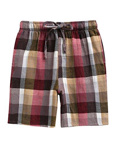 - TINFL Boys 100% Cotton Plaid Check Sleep Lounge Shorts BSP-AA006-Brown S