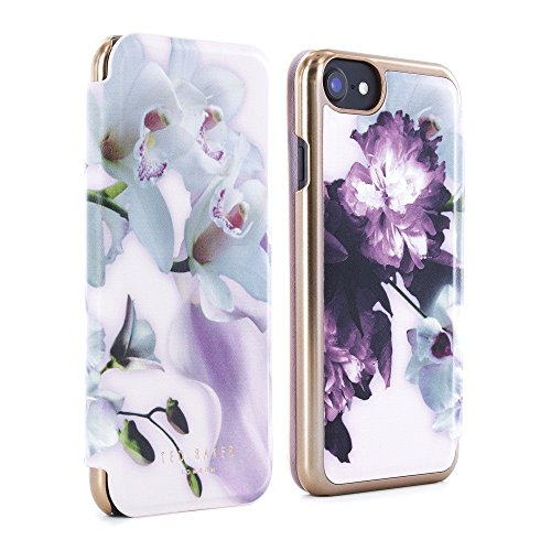 Official TED BAKER SS16 iPhone 6 / 6S Case - Luxury Folio Case / Cover in Flower Design for Women with Built-In Interior Mirror for the Apple iPhone 6 and - In Nude Women Mirror
