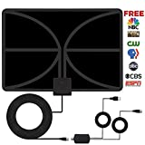 HDTV Antenna, Indoor Amplified TV Antenna 60+ Mile Range with Detachable Amplifier Signal Booster and 10 Feet Thicker Coaxial Cable For 4K 1080P Free TV(Black)--2018 new version