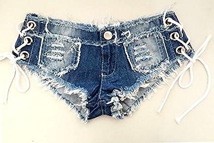 Shishanyun Borla Vendaje Sexy Jeans Pantalones Cortos de Cintura Baja con Cordones Diseño de Moda Jeans