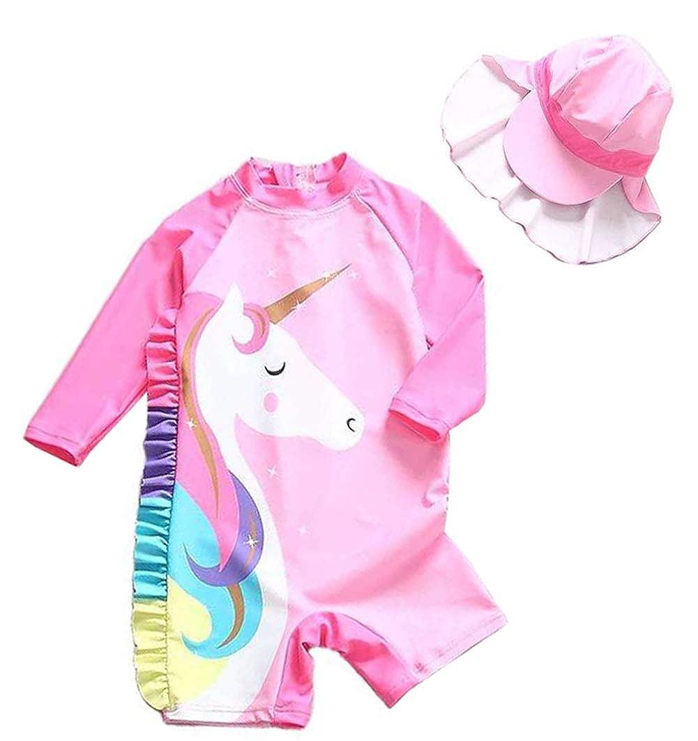 Baby Little Girls Sunsuits Unicorn Swimsuit Hat Swim Set 4Year