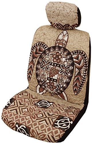 Winnie Fashion Side Airbag Compatible; Brown Big Honu Hawaiian Separate Headrest Cover; Made in Hawaii; Set of 2