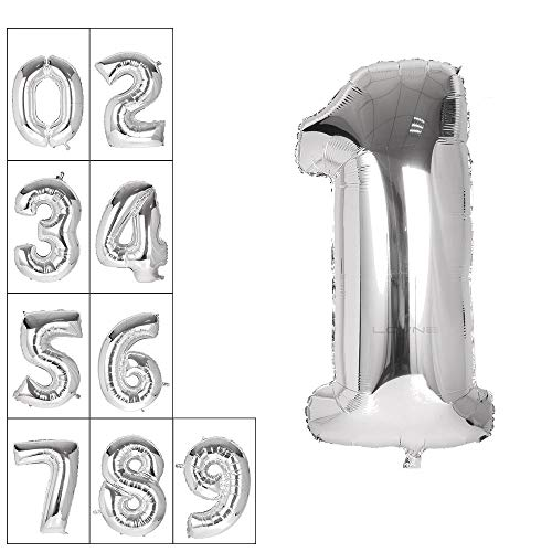Lovne 40 Inch Jumbo Silver Number 1 Balloon Giant Prom Balloons Helium Foil Mylar Huge Number Balloons 0 to 9 for Birthday Party Decorations Wedding Anniversary