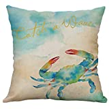 HOSOME Marine Life Coral Sea Turtle Seahorse Whale Octopus Cushion Cover Pillow Cover