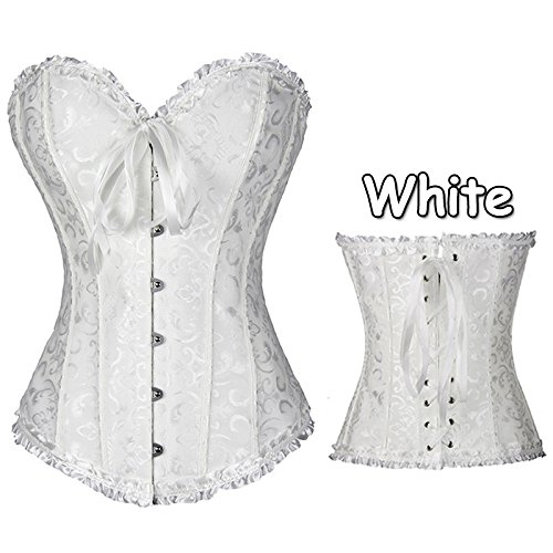 high-quality moahhally 6 Colors Plus Size Strapless Bridal Corsets(White,XXL (Choose One Size Larger))