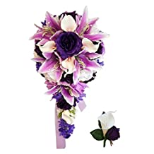 Purple Lavender Rose and White Calla Lily Rose Cascade Bridal Wedding Cascading Bouquet & Boutonniere Set