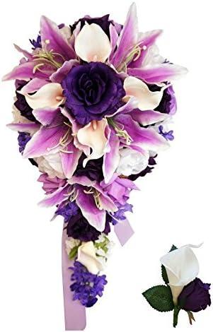 Cascade white bridal bouquet wear over your wrist orchid pearl artificial silk flowers cascading bouquet
