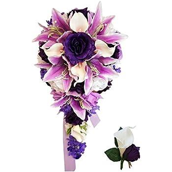 Amazon cascade bouquet purple lavender white artificial cascade bouquet purple lavender white artificial flower arrangement mightylinksfo