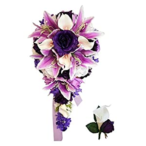 Cascade Bouquet - Purple Lavender White Artificial Flower Arrangement 44
