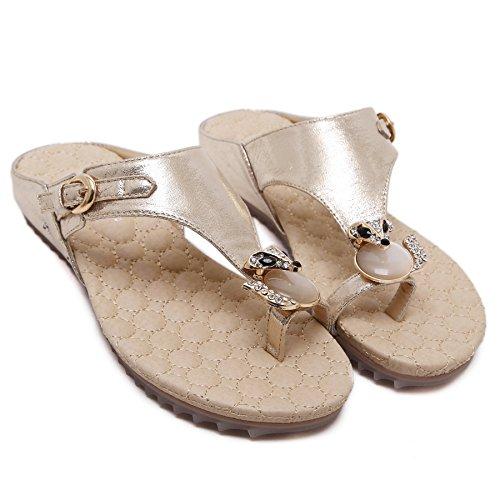 Plano Mocasines Mujer de TieNew Moda Chanclas Bohemia Playa Romanas Calzado Mujeres de de Mujer Gold Sandalias de Toe Bohemia Clip Sandalias Dulce Casuales Sandalias Verano Zapatos 8CB0wq8