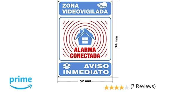 ★★★★★ Mini-Cartel disuasorio interior/exterior Premium y Ultra-resistente metálico, Cartel disuasorio alarma conectada aviso policía, 7x5 cm ★★★★★