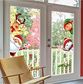 0c957050f2b14 Yuson Girl Ventanas de Navidad Pegatinas Papá Noel Reno Vinilo Extraíble  árbol de Navidad DIY Wall Window Door Mural Decal Sticker para Escaparate   ...