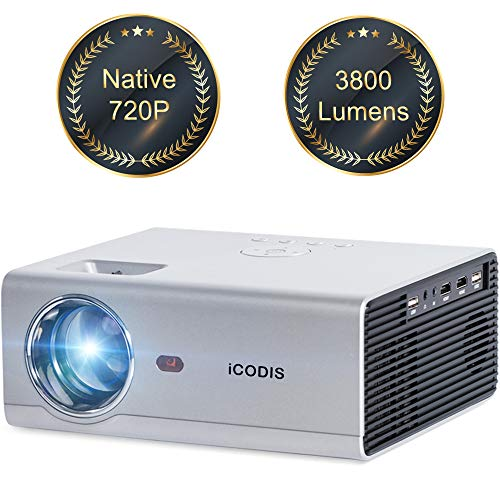 iCODIS T400 Mini Projector 3800 Lumens, 720P Native Resolution, Full HD 1080P Supported, Compatible with Smartphone/ Tablet/ PS4/ PC /HDMI / USB / VGA / AV