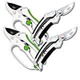 Cate's Garden 4-Piece Garden Tool Set- 2 Bypass & 2 Ratchet Pruning Shears 8'' Easy Action Anvil-type Premium Hand Pruner - Heavy Duty SK5 High Carbon Blades for Lasting Durability