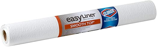 Duck 284380 Smooth Top Easy Shelf Liner with Clorox, 20 in. x 6 Ft, White
