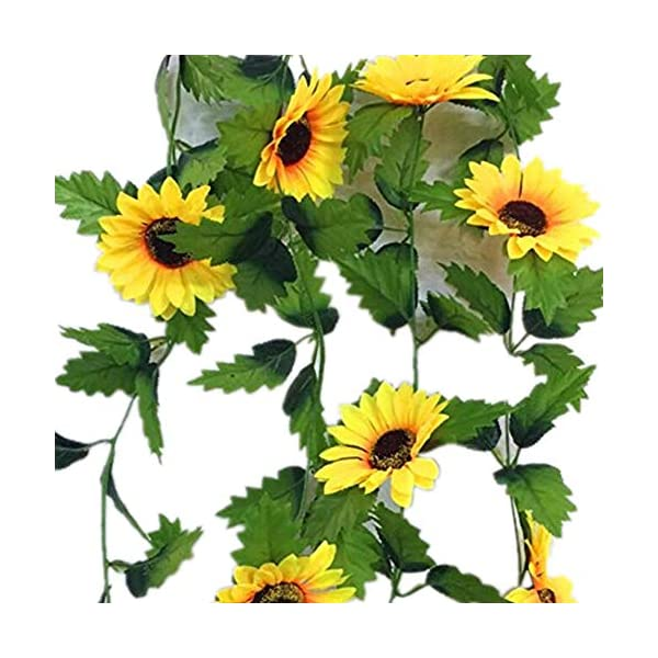 jiumengya 5Pcs Artificial Sunflower Vines Simulation Yellow Sunflower Vine 8 Flower Heads 220cm Long for Home Party Wall Decorations (Yellow)