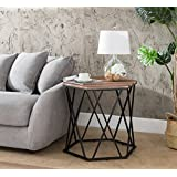 Weathered Oak/Metal Frame Hexagon Chair Side End Table 24 H by eHomeProducts