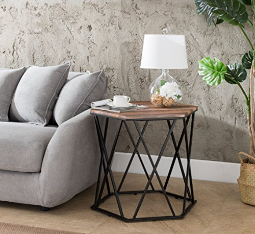 Weathered Oak/Metal Frame Hexagon Chair Side End Table 24