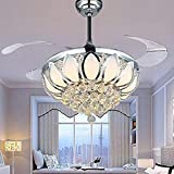 Luxury Modern Crystal Chandelier Ceiling Fan Lamp Folding Ceiling Fans With Lights Chrome Ceiling Fan With Light Dining Room Decorative with Remote Control (Support Dimming) Review