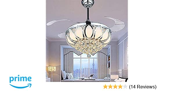 Luxury Modern Crystal Chandelier Ceiling Fan Lamp Folding Ceiling ...