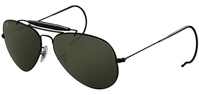 e641a3335e Amazon.com  Ray-Ban Outdoorsman RB 3030 Sunglasses Black   Crystal Green  (L9500) 58mm   HDO Cleaning Carekit Bundle  Clothing