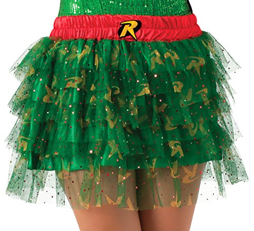 Secret Wishes DC Comics Justice League Superhero Style Adult Skirt with Sequins Robin, Red, One Size