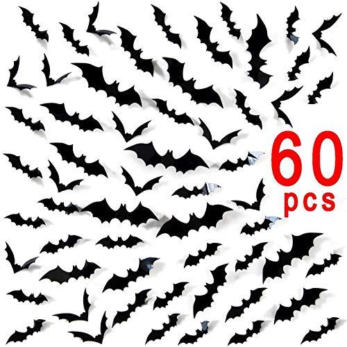 Ivenf Halloween Bat Wall Decals Stickers Decor 60 Pack 3D Bats Window Decals Bat Halloween Door Decorations